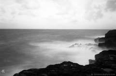 Pinhole photography: Maha'ulepu Coast (ZER_0022) (masinka) Tags: etbtsy pinhole lensless photography film analog blackandwhite bw monochrome longexposure zeroimage 35mm ilford panf pacific ocean water blur lava coast coastline kauai hawii moody exhilarating outdoors paradise earth landscape