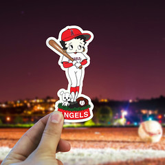 Custom LA Angels BaseBall Sticker (Johnny_Designer) Tags: la angels baseball sticker design mockup in hand character vector tracing fiverr madeonfiverr creative graphic