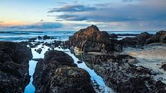 Pescadero Point Beach, CA (j1985w) Tags: california beach ocean waves sand sky clouds pescadero rocks reflection sunset longexposure