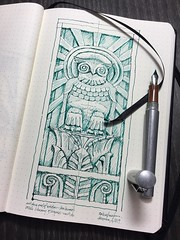 Lee Lawrie - Owl of Wisdom  Library of Congress building 1930's (schunky_monkey) Tags: illustration art fountainpen penandink ink pen drawing draw sketching sketch basrelief bird owl deco artdeco sculpture sculptor artist leelawrie