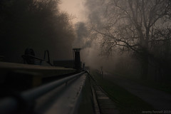 An evening walk along the tow path (zolaczakl) Tags: wiltshire avoncliff thekennetavoncanal canal fog foggy mist 2019 december nikond800 nikonafsnikkor24120mmf4gedvrlens england uk photographybyjeremyfennell jeremyfennellphotography canalboat smoke chimney eveninglight trees figure kennetavoncanal towpath highiso