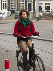 cold? (Henk Overbeeke Atelier54) Tags: girl street candid bike bicycle bicicletta fiets fahrrad vélo boots nylons longhair