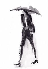 Dans les rues - Jour pluvieux d'automne [20191123]-1 (rodneyvdb) Tags: art blackandwhite bw drawing fashion femme fleeting illustration ink monotype parapluie pluie rain street umbrella vogue woman