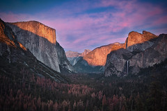 Yosemite & Fall (Luís Henrique Boucault) Tags: valley sky bridalveilfalls west beauty background nationalpark overlook summer sierranevada travel national nature falls coast outdoor scenic magenta view america bridal tourism granite usa mountain dome mountains forest tree veil color beautiful water landscape sunset capitan yosemitehalfdome remote os destinations yosemitenationalpark bridalveil yosemite blue wilderness panorama california scenery park rock