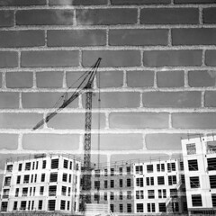 untitled (kaumpphoto) Tags: rolleiflex 120 tlr doubleexposure ilford bw black white street urban city construction architecture brick wall crane progress windows minneapolis