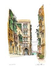 Valletta, Malta (wanstrow) Tags: malta valletta med architecture illustration green windows blue sea