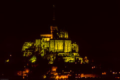 Mont Saint-Michel (gwpics) Tags: night building historic landmark monestry floodlight exterior french france unescoworldheritagesite history architecture famous normandy archive tourism heritage film outdoors outside analog analogue