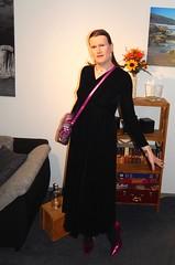 Black Velvet (Rikky_Satin) Tags: black velvet dress highheels pumps handbag crossdresser transvestite tgirl tgurl