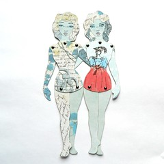 Friends (JuliaPeculiart) Tags: paper doll paperdoll puppet jointed articulated handmade