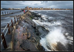340/365 Lively seas at Ayr Pier. (B Ryder) Tags: nikon d500 sigma 1020mm super wide angle lens ayr south ayrshire scotland uk peir sea water sky clouds moon slash
