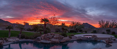 Dawn (Ron Drew) Tags: nikon d850 dawn scottsdale sunrise arizona clouds pool palm lawn mountain trees sky autumn morning panorama stitch patio landscape outdoor spa