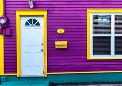 Purple House (Karen_Chappell) Tags: purple yellow door window house mailbox mail wood wooden bright colours colors colourful nfld downtown home jellybeanrow stjohns city urban clapboard trim paint painted newfoundland canada atlanticcanada avalonpeninsula eastcoast colour color multicoloured white architecture building rowhouse canonef24105mmf4lisusm