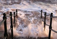 Sea Spray (Raphooey) Tags: gb uk england souith west southwest sid devon sidmouth vale valley beach sea seaside seashore shore shoreline wave waves spray railing railings canon eos 6d mk mark ii 2