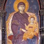 20f Мануил Панселин. Фреска Панагия в соборе Протата в Карее, Афон, XIV в