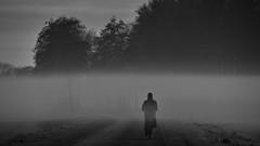 (andzwe) Tags: reza mistbank mist netherlands bike mystery nederland curve fogbank biketrip bocht fairytalelike geheimzinnig perzischklaaglied blackandwhite monochrome zwartwit drenthe steenwijk alone loneliness foggy isolation persianlament magischrealistisch solitude eenzaam gloomy sinister gasthuisdijk mysterious understated noir somber