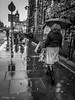 The rainy pavement....