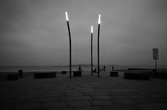 Stralsund, Strelasund - Laternen (tom-schulz) Tags: ricoh grii monochrom bw sw stralsund thomasschulz strelasund strand sand wellenbrecher buhnen ufer fahrrad bank