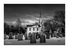 United Congregational Church Of Little Compton, RI (windshadow2) Tags: church littlecompton green ri usa historical winter snow graveyard cemetery colonial black white moody landscape