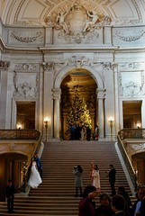 Posing Around the Main Staircase (mahteetagong) Tags: sanfrancisco cityhall architecture wedding baroque nikon d80 35mmf18 bride staircase photography christmastree