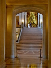 Doorway into Main Lobby (mahteetagong) Tags: sanfrancisco cityhall architecture wedding baroque nikon d80 35mmf18 lobby staircase marble christmastree