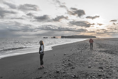 Wondering and searching. (katebosworth1) Tags: iceland water beach rocks people sky clouds sunset sony mirrorless 6500 discover outdoor vacation adventure nature lighting