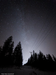 Galaxy! (petergranström) Tags: approved galaxy vintergatan woods skog träd trees power pole pillar stars stjärnor sky himmel