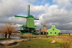Windmills (jan.vd.wolf) Tags: windmills mill landscape outside outdoor clouds poelenburg zaanseschans zaandijk thenetherlands