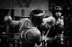46070 - Hook (Diego Rosato) Tags: boxe boxing pugilato boxelatina nikon d700 tamron 2470mm rawtherapee ring match incontro pugno punch bianconero blackwhite hook gancio
