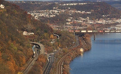 View from Duquesne Heights (GLC 392) Tags: ohio river container stack train railroad railway ge es40dc d940cw ns norfolk southern 7532 mon line oc bridge duquesne heights pittsburgh pa pennsylvania