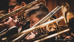 a short story about wide-open eye (ignacy50.pl) Tags: music musicians concert stage band instruments trombone team man boy