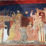 07 Прибытие мощий Климента Римского из Херсонеса в Рим в 867, Кирилл и Мефодий с папой Адрианом II , Фреска XI в, С-Клементе