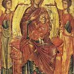 20a Богородица с младенцем и предстоящими архангелами Гавриилом и Михаилом; Византия; XIII в