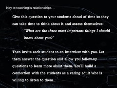 Educational Postcard: Three most important things I should know aout you? (Ken Whytock) Tags: relationships question students teachers teaching education assess self reflection interview caring adult instruction