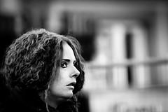 sideways (Gerrit-Jan Visser) Tags: geimporteerd street portrait girl woman bnw blackandwhite amsterdam dof