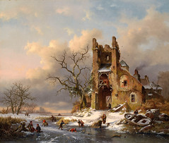 Frederik Marinus Kruseman – private collection. A Winter Scene with Skaters on a Frozen Waterway (1858) (lack of imagination) Tags: 30003500 blog boats frederikmarinuskruseman house landscape people privatecollection ruin skating trees winter