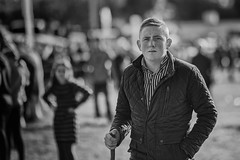Heading my way (Frank Fullard) Tags: frankfullard fullard candid street portrait black white blanc noir monochrome ballinasloe horsefair fair galway irish ireland stick horse fairgreen