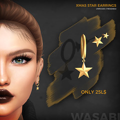 Xmas Star Earrings! (Wasabi // Hair Store) Tags: 3d mesh hair secondlife wasabi insol catwa