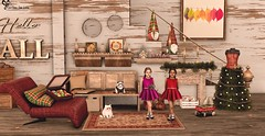 @Sese , @Promagic (Sweet Fashion Girl and Boy) Tags: decoration backdrop promagic hello fall set sese christmas room arcade 2 dress green rare 4 sofa red 6 hearth brown light ofof 8 rug 9 suitcase 14 elf 12 with lights shelf cats halfdeer warm fuzzy bear cat cart thor gift children blackbantam holiday doll