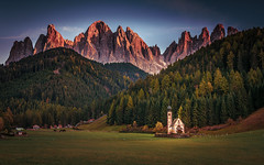 Evening in the valley (gregor158) Tags: italy europe travel places dolomites dolomiten italien mountains mountain trees tree church sunset ranui landscape nature