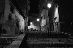 The dark and steep paths of life (lebre.jaime) Tags: portugal beira covilhã architecture traditionalarchitecture street house stairs nocturnal nightphotography analogic film135 pb pretobranco noiretblanc nb bw blackwhite leicam3 summicron2050dr kodak tmax3200 tmz2 epson v600 affinity affinityphoto