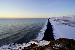 Black Beach (docwiththecamera) Tags: nature mountain hill rock blue sky iceland snow sand black beach sunset sea
