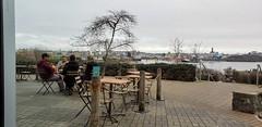 Sitting on the Dock of the Bay (6500 views) (Bill 3 Million views) Tags: selkirkwaters selkirk selkirktrestle trail gallopinggoosetrail coffee coffeeshop fantasticocoffee fantastico cellphone walk