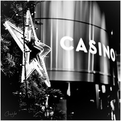 24x7 Christmas (cjhall.nz) Tags: daybreak morning 35mm x100f fujifilm monochrome bw bnw blackandwhite photography street tree decoration star christmas skycity tower city sky