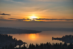 Sunset View from Bellevue (M Rosen) Tags: sunset bellevue pacificnorthwest reflection evening dusk lake trees forests clouds outside outdoors washingtonstate water sky fall nature landscape orange scenic nikkor nikonz6