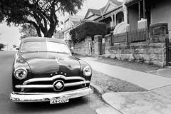1949 Ford Coupe (Boris Capman) Tags: 35mm olympusom ilford hp5 ford classic car blackandwhite bw monochrome vintagecar suburbia bondi street filmisnotdead filmphotography 35mmfilm zuiko analog