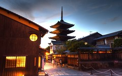 Gion Sunset (dgwooster) Tags: japan kyoto gion hdr travel asia sunset sunsets temple buddhism