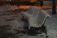 abandoned, prefer to sit warm (Slávka K) Tags: warmlight cold city street lonely benches light december 2019 evening nopeople