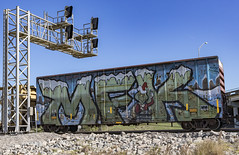 (o texano) Tags: houston texas graffiti trains freights bench benching wholecar mfk