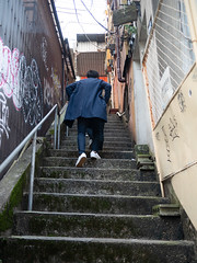 up on steep stairs (kasa51) Tags: stairs alley people street tokyo japan 急階段 狭隘