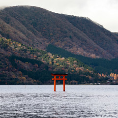 Kuzuryu Shine Torii in Ashinoko (Big Ben in Japan) Tags: fall ashinkoko autumncolors hakone japan kuzuryu torii